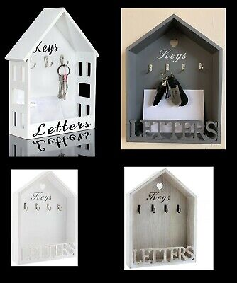 Letter Rack & Key Holder House Hooks Storage Wall Hanging White Natural Vintage
