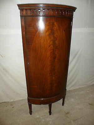 A Quality Late Victorian Free Standing Bow Fronted Inlaid Mahogany 1 DoorCabinet