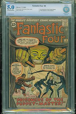 FANTASTIC FOUR #8 [1962] CERTIFIED[5.0] 1st PUPPET-MASTER