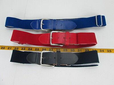 Lot of 3 Baseball Belts Youth Red Navy Bright Blue Adjustable Leather/Elastic T