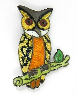 Signed JF Taxco Mexico Sterling Silver Yellow Enamel Owl Pin / Brooch
