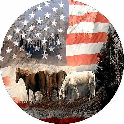 Horse #15 American Flag Spare Tire Cover Jeep RV Camper(all sizes available)