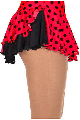 New Figure Skating Dress Skirt Jerry's Double Back Red Black Polka Dots CS 6-8