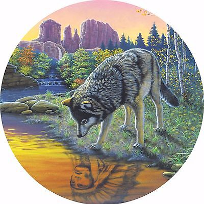 Wolf #3 Indian Reflections Spare Tire Cover Jeep RV Camper VW etc(all sizes)