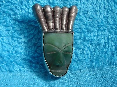 Mexico Vtg Sterling Silver Carved Natural Jade Tribal Mask Face Pin Brooch