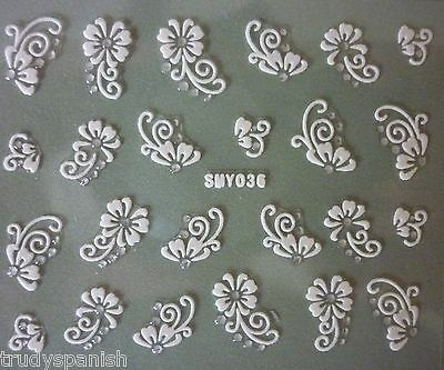 3D Nail Art Lace Stickers Decals WHITE SILVER Flowers Rhinestone Gel Polish (36)