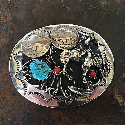 Silver Turquise Coral Large Belt Buckle with Buffalo Nickels and Indian on Horse