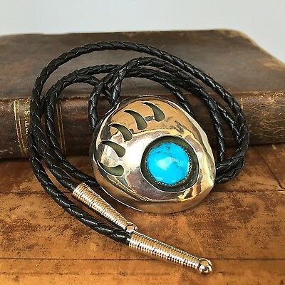 Handmade Navajo Silver and Turquise Bear Paw / Claw Bolo Tie, Signed