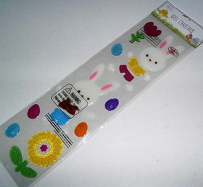 Easter Gel Window Stick-Ons  EASTER BUNNY RABBIT'S W/ COLORFUL FLOWERS AND EGGS