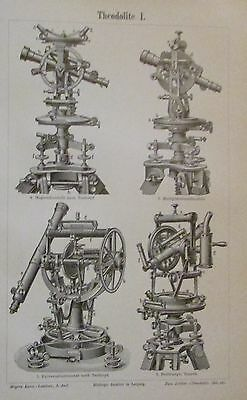 1898 THEODOLITE I. II. Original Alter Druck Antique Print Lithographie