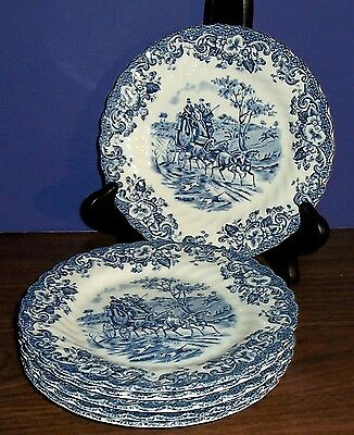 Lot Of 6 Johnson Bros Coaching Scenes Bread & Butter Plates Hunting Country 6.25