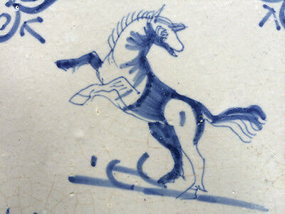 Antique Dutch Delft Tile Jumping Horse 17th C.