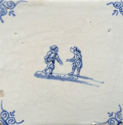 Antique Dutch Delft Tile Children Play Hop 17th C