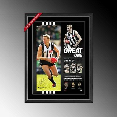 Collingwood Magpies The Great One Nathan Buckley Hand Signed Career Framed Print