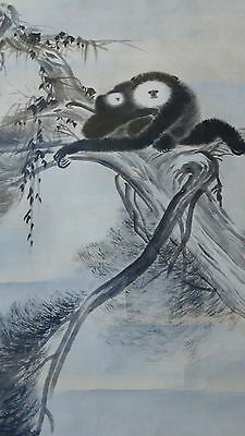 ANTIQUE 19c MEIJI JAPANESE LARGE MACAQUE MONKEY INK ON PAPER PAINTED SCROLL SIGN