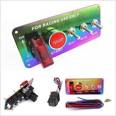 4+1Start Push Chrome Panel Button Car Ignition Engine Racing Toggle Switch