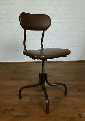 Vtg Mid Century Steel Industrial Factory Swivel Study Desk Chair Shaw of London