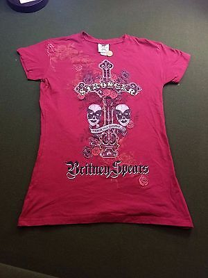 Britney Spears 2 Sided T Shirt Girl's XL Stronger Than Yesterday Maroon