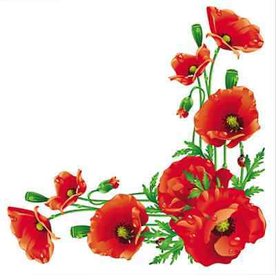 20 Paper Lunch Napkins BUNCH OF POPPIES - RED PARTY DECOUPAGE SERVIETTES TaT