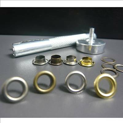 """4mm 3/16"""" or 6mm 1/4"""" Brass Eyelets with washer + 1 SETTER & ANVIL Punch Tool"""