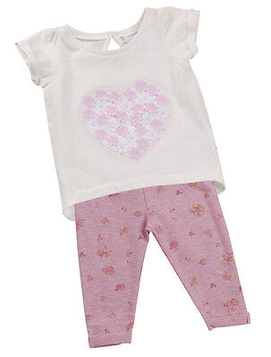 Babytown Girls Minikidz Top & Leggings 2 Pc Hearts Flowers Gift Set Party Outfit