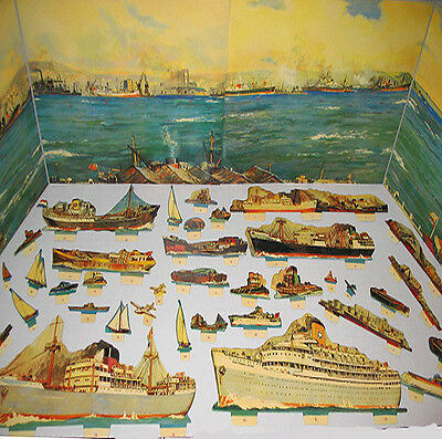 OCEAN Boat Ship s NAUTICAL PANORAMA BOOK 4ft Long! MINT CONDITION Shackman