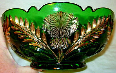 "9"" Bowl - Inverted Thistle - Mosser USA - Green Glass"