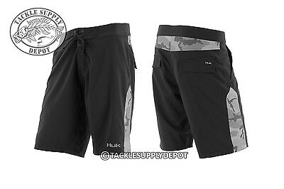 e79623723ec4 HUK FISHING CAMO Men s Board Shorts Black Grey 34 Inch Waist ...