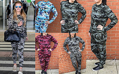 Ladies Camouflage Army Girls Stretchy Jogging Tracksuit Lounge Wear Set 8 - 26