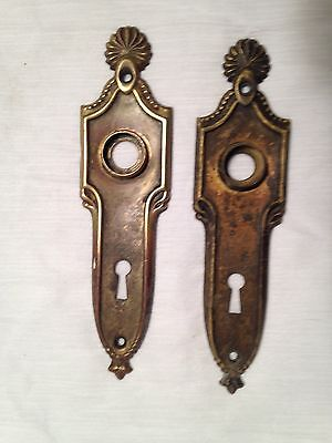 "6 1/2"" Antique Pair Of Door Knob Back Plate Key Hole"