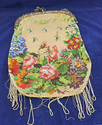 """Fabulous Victorian Micro Beaded Purse Bag w/ 800 Solid Silver Repousse Frame 12"""""""