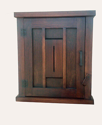 Handmade Mission Arts/Crafts Keyhole Design Wood Wall Cabinet