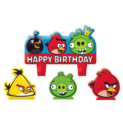 Angry Birds Kids Birthday Party Cake 4 Pieces Set Candles