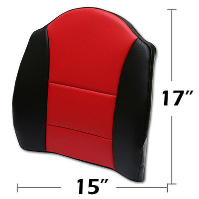"""Big Size 15""""x17"""" S.leather Lumbar Support Back Cushion All Purpose Black/red"""