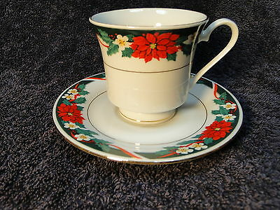 Tienshan Deck the Halls Tea Cup Saucer Set Christmas Poinsettia MINT!