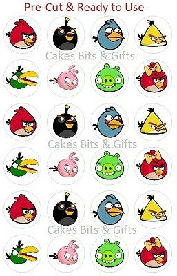 24 x ANGRY BIRDS Edible Wafer Cupcake Toppers, Pre Cut & Ready to Use.