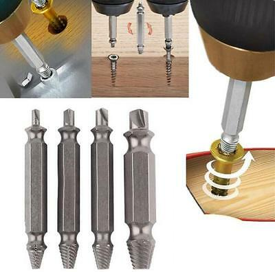 4pcs Steel Broken Speed Out Damaged Screw Extractor Drill Bit Remover Set