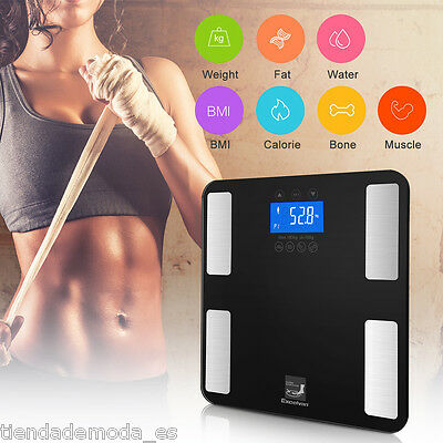 Excelvan LCD Touch 400 LB Digital Smart Body Fat Weight BMI Scale Tempered Glass