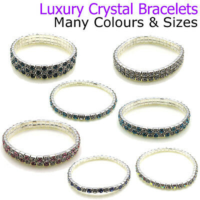 Wedding Crystal Bracelets Bridesmaid Favours Jewellery Stretchy Diamante Girls