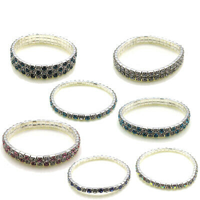 Crystal Bracelets Girls Fashion Jewellery Kids Diamante Costume Elasticated UK