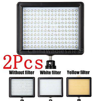 LOT 2X 160LED Video Light 1280LM Dimmable for Canon Nikon DSLR Camera Camcorder
