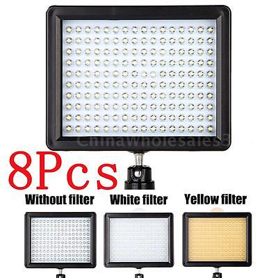 LOT 8X 160LED Video Light 1280LM Dimmable for Canon Nikon DSLR Camera Camcorder