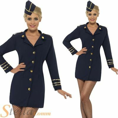 Air Hostess Costume Trolley Dolly Flight Attendant Fancy Dress Outfit With Hat