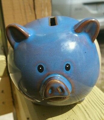 Piggy Bank Blue Brown Stoneware Pottery Chocolate Cravings Unique Cute
