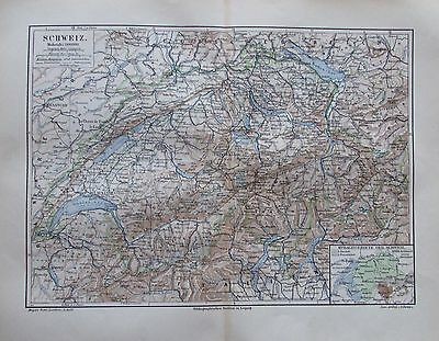 SCHWEIZ 1897 original historische Landkarte Karte antique map Lithografie