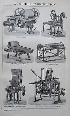 ZÜNDHOLZFABRIKATION 1895 Original Druck Antique Print Lithographie Brockhaus