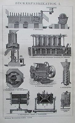 ZUCKERFABRIKATION 1895 Original Druck Antique Print Lithographie Brockhaus