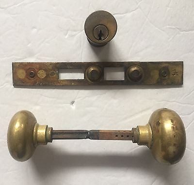 Vintage Brass Door Knobs, Schlage Cylinder Lock, Mortise Strike Plate