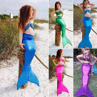 Toddler Girl Kids Mermaid Tail Costume Halter Bathing Bikini Swimwear Swimsuit