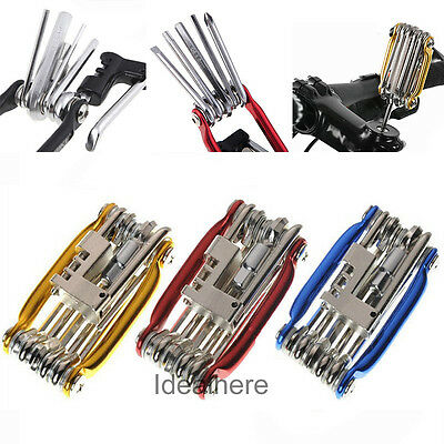 11 In 1 Multi-function Bike Bicycle Wrench Chain Cutter Repair Tools Kit New